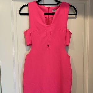 Pink cocktail dress with cutouts